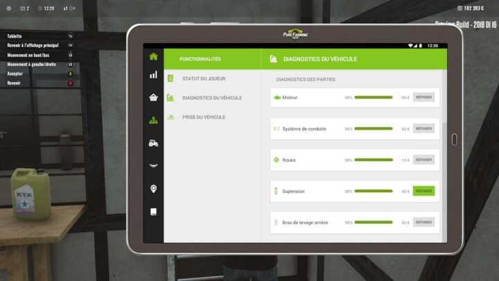 La valise s'affiche sur la tablette et permet d'intervenir sur des points précis.