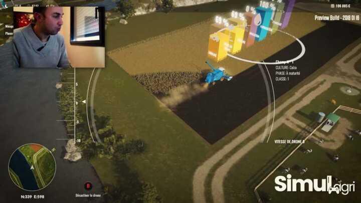 La vue du drone pour fliquer votre ouvrier. Les manoeuvre en bout de champs sont toujours problématiques sur cette version preview, mais le boulot est fait.