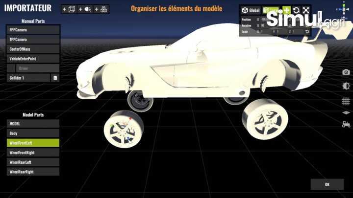 L'outil permet d'importer n'importe quel modèle 3D, ici une Dodge Viper.
