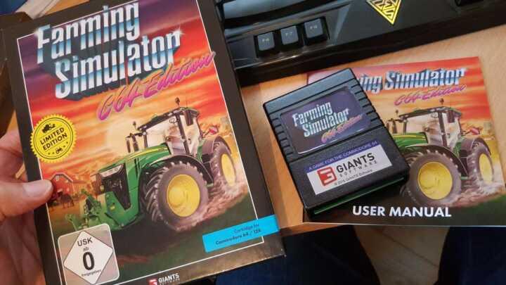 Collector ! Giants Software nous a livré une véritable cartouche C64/C128 de Farming Simulator !