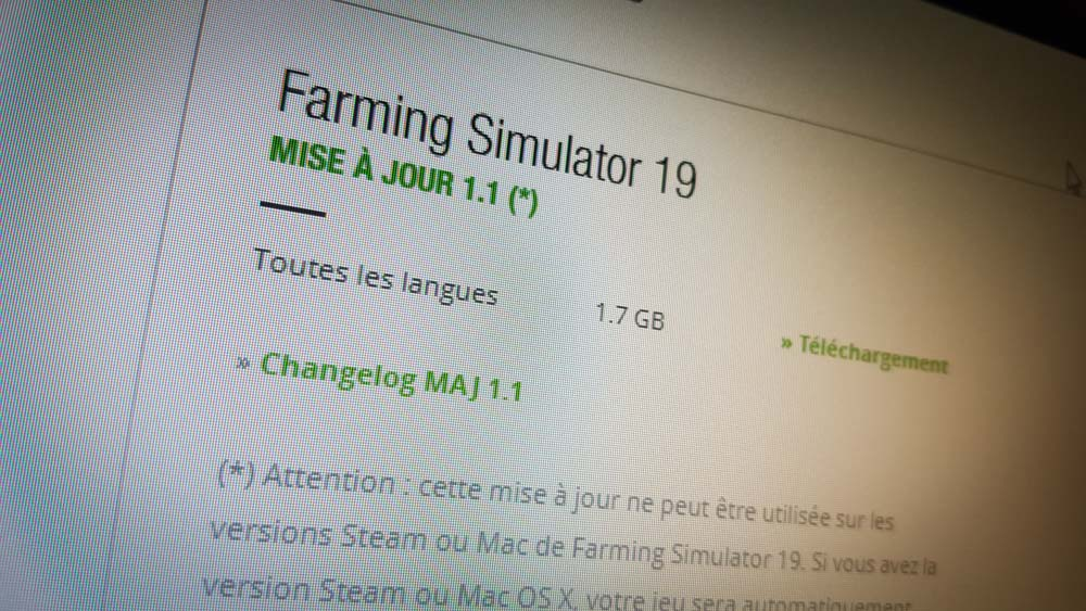 La mise à jour 1.1 était disponible dès la sortie de Farming Simulator 19.