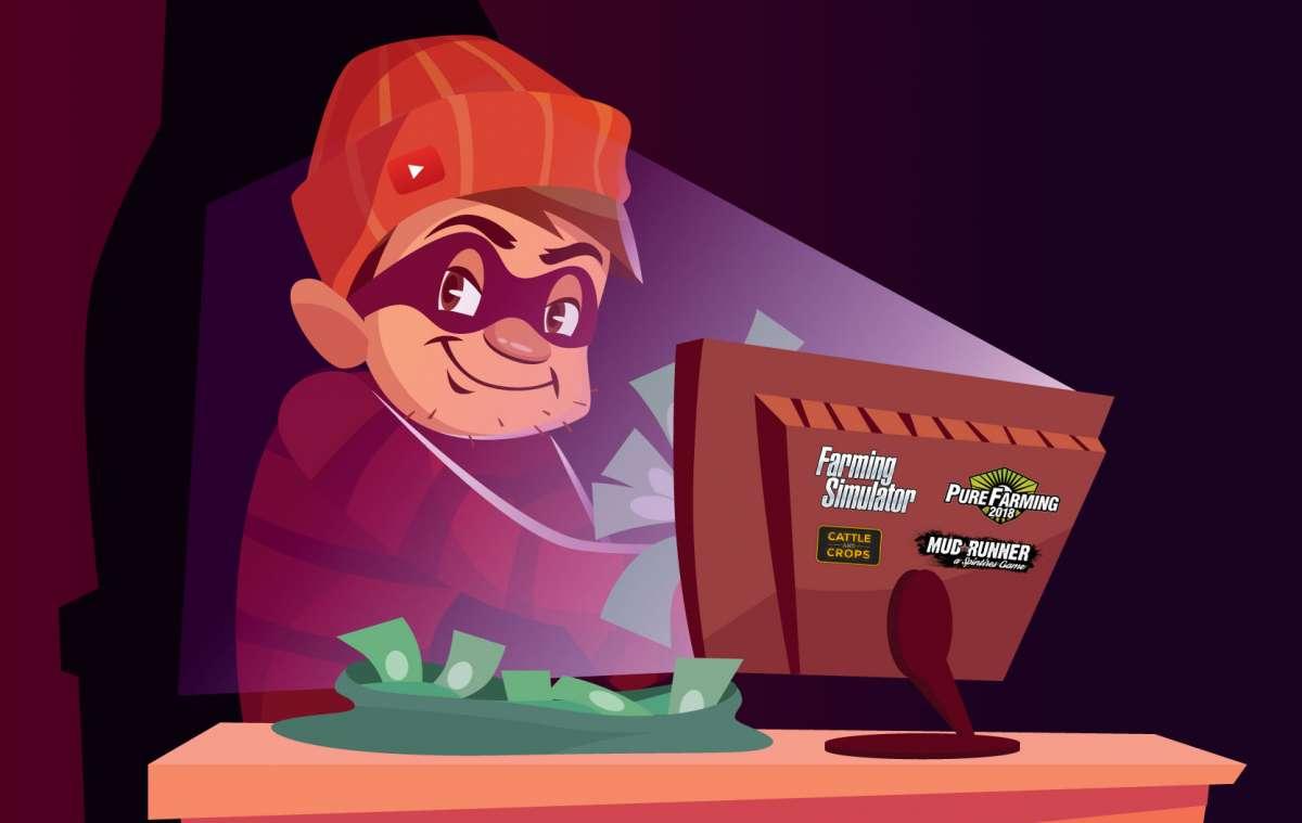 Le vol de mods est une technique lucrative bien huilée, qui passe souvent par la promotion via Youtube. (Crédit : Ordinateur vecteur créé par vectorpouch - fr.freepik.com)