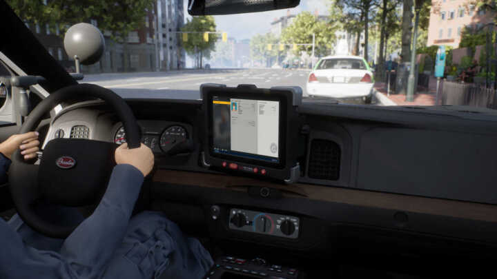police sim patrol officers console monitor