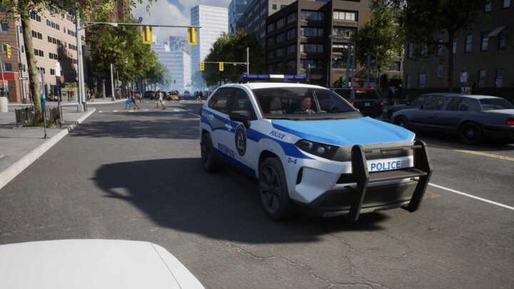 police sim patrol officers new car